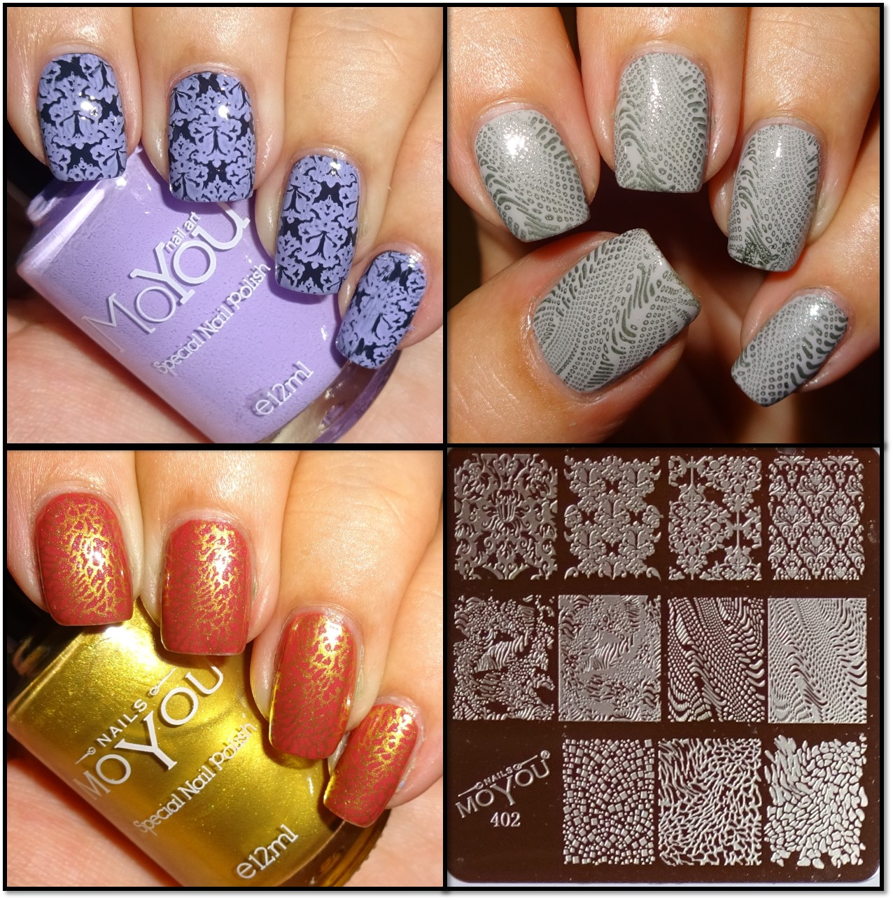 Wendys delights moyou nails stamping plate 402 heres a selection of my manis using moyou nails plate 402 and moyou nails stamping polishes ill add to this post each time i use the plate prinsesfo Choice Image