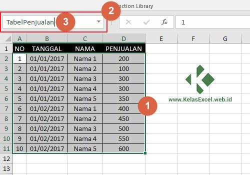 Langkah Memberi Nama Range Pada Excel 2