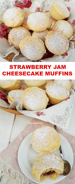 All seasons Muffins, Stuffed with Strawberry Jam and Cheesecake !
