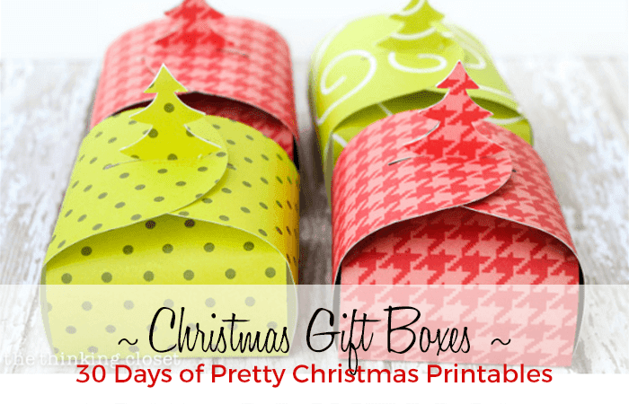 Free Christmas Gift Box template. 30 Days of Pretty Christmas Printables hosted by GradeONEderfulDesigns.com
