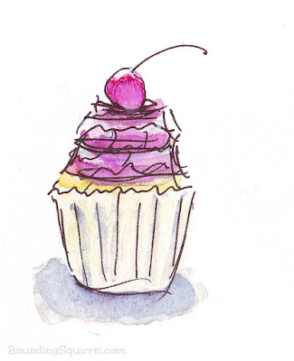 Cherry Cupcake Illustration in Line and Wash Watercolour