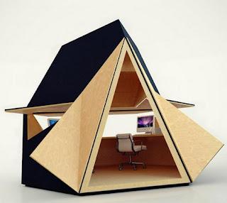 Oficina modular móvil hecha con madera