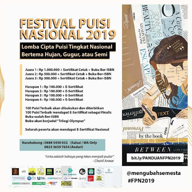 Lomba Cipta Puisi Festival Puisi Nasional 2019 Umum