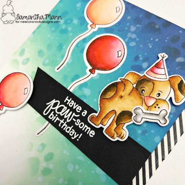 Paw-some Birthday Card by Samantha Mann | Puppy Playtime and Fabulous Frenchies Stamp Sets and Pawprints Stencil by Newton's Nook Designs #newtonsnook #handmade