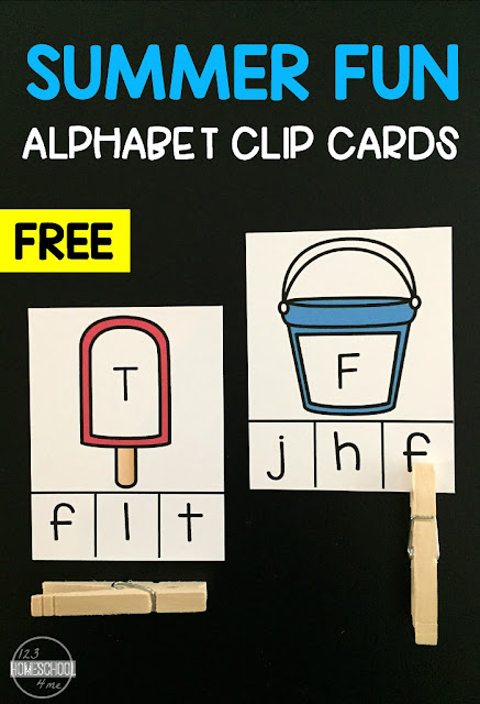 FREE Summer Fun Alphabet Clip Cards - super cute hands on learning game to help preschool, prek, kindergarten age kids practice matching uppercase letters and lowercase letters. Perfect for summer learning!