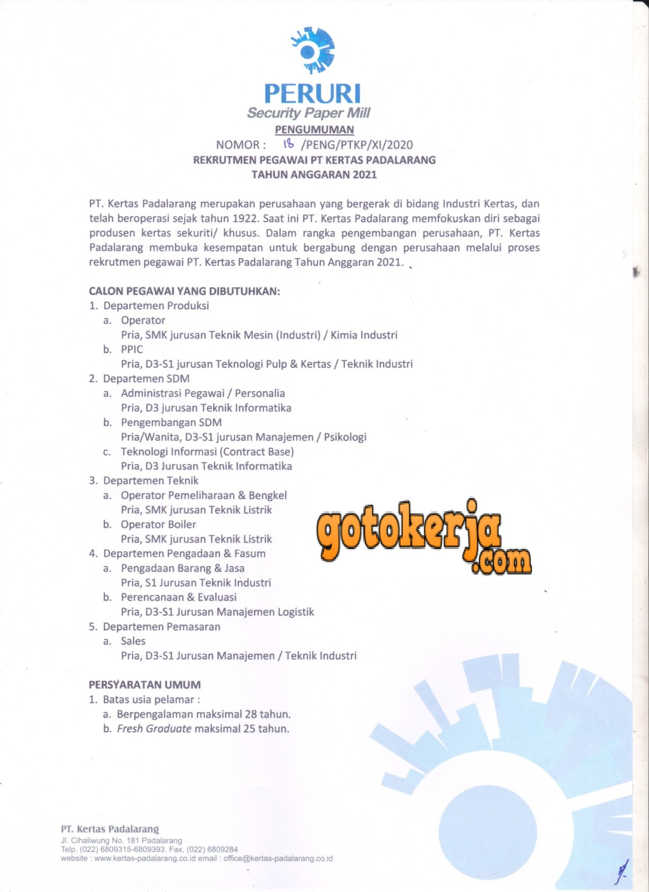 Lowongan Kerja PT. Kertas Padalarang( PTKP) (Perum Peruri)