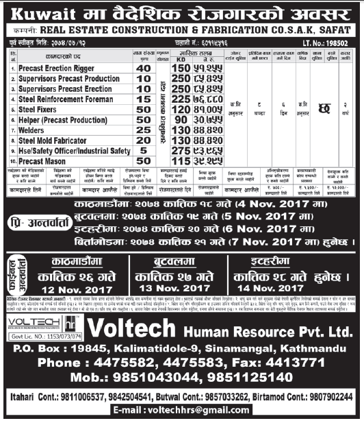 Jobs in Kuwait for Nepali, Salary Rs 93,965
