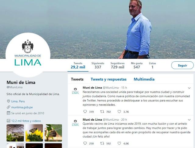 Logotipo de Twitter de la Municipalidad de Lima cambió de color en gestión de Jorge Muñoz