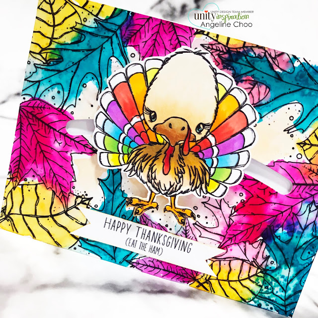 ScrappyScrappy: Thanksgiving and Christmas with Unity Stamp - Turkey Slider card #scrappyscrappy #unitystampco #card #youtube #quicktipvideo #stamp #thanksgivingcard #turkey #rainbowturkey #slidercard #interactivecard #lawnfawn #slideonover #janedavenport #mermaidmarkers #frondescence #autumn #fall #happythanksgiving #copicmarkers