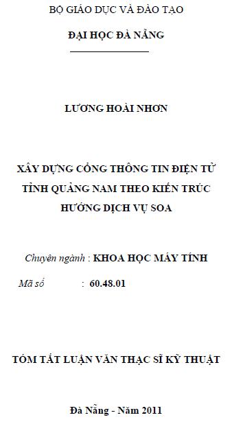 Xây dựng cổng thông tin điện tử tỉnh Quảng Nam theo kiến trúc hướng dịch vụ SOA