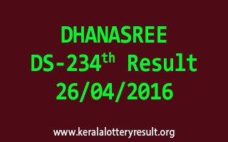 DHANASREE DS 234 Lottery Result 26-4-2016