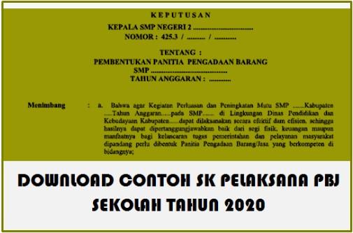 Download Contoh SK Pelaksana PBJ Sekolah tahun 2020