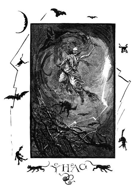 Bruja volando con demonio y gato