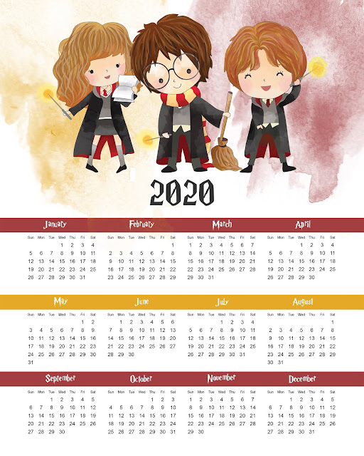 Harry Potter: Free Printable One Sheet 2020 Calendar