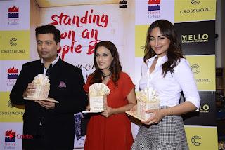 Sonakshi Sinha Karan Johar at Aishwarya Rajinikanth Standing on an Apple Box Book Launch Event  0061.jpg