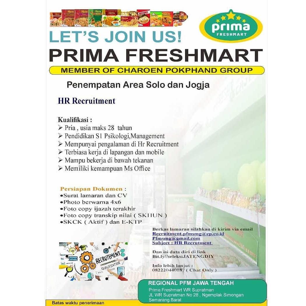 PT Primafood International ( Prima Freshmart )  Buka lowongan untuk Posisi HR Recruitment (Area Solo-Jogja)