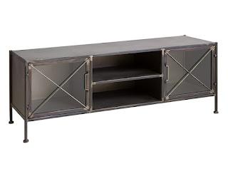 Mueble TV estilo rustico industrial acero cristal
