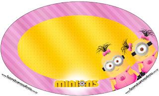 Toppers o Etiquetas de Minions Chicaspara imprimir gratis.
