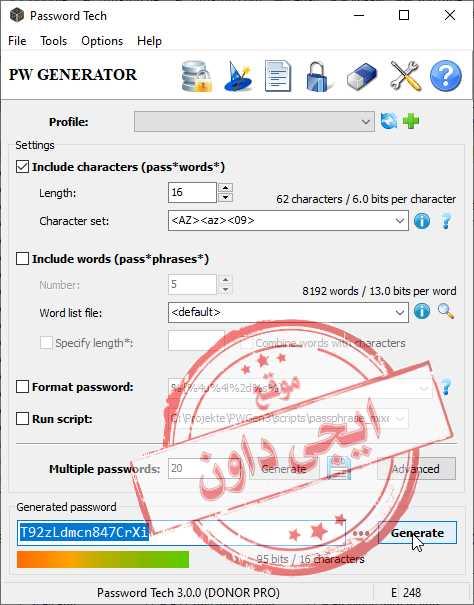 تحميل برنامج توليد كلمات السر القوية والصعبة Password Tech 2020