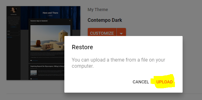 Uploading New Template After Creating Backup