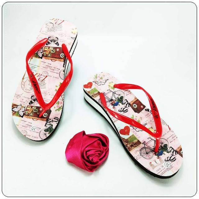 grosirsandalmurah.org - wedges - Sandal spon tebal motif bunga