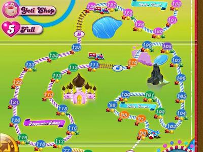 Mapa de Candy Crush Saga con diferentes niveles