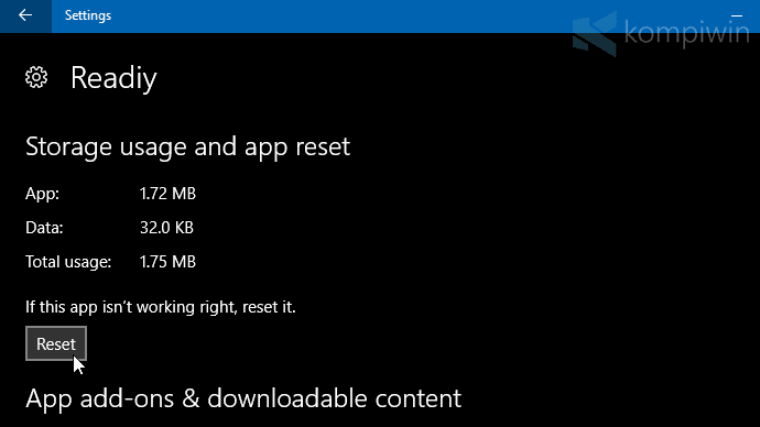 cara reset aplikasi windows 10
