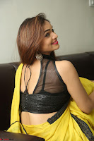 Cute Actress Ashwini in Yellow Saree Exclusive  032.JPG