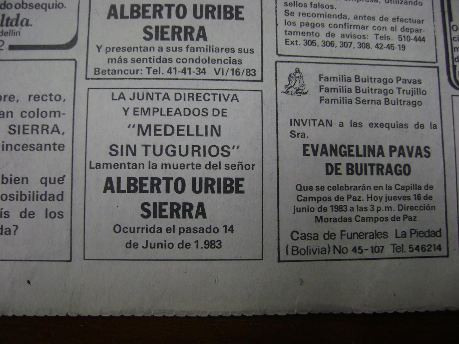 Proyecto Pablo Escobar: Invitación a funerales de Alberto Uribe ...
