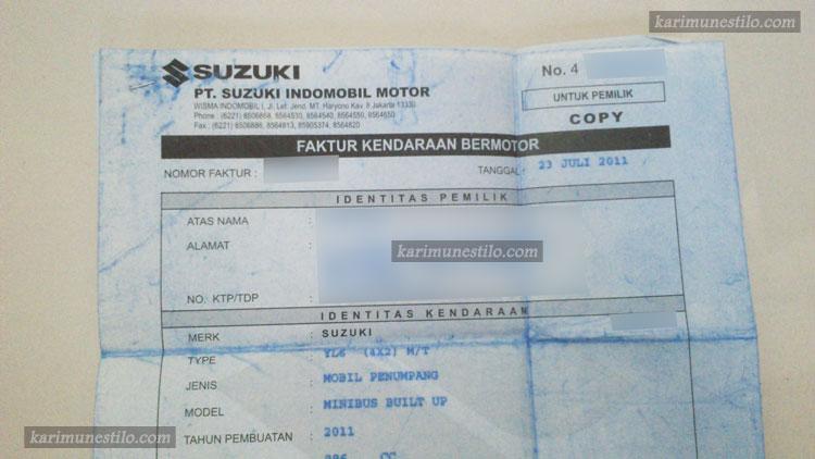 Contoh Faktur Mobil Dokumen Penting Jual Beli