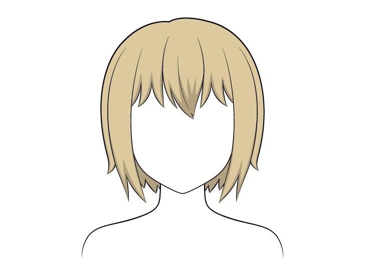 Shading rambut pendek anime