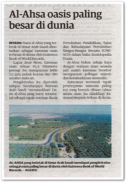 Al-Ahsa oasis paling besar di dunia - Keratan akhbar Utusan Malaysia 10 Oktober 2020