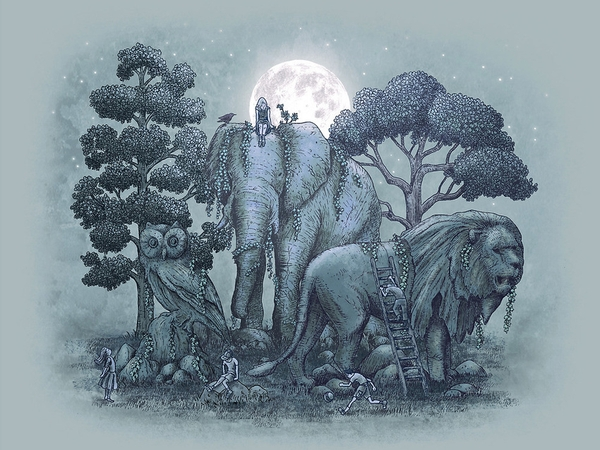 10-Midnight-in-the-Stone-Garden-Eric-Fan-Illustration-of-Fantasy-Characters-in-Surreal-Worlds-www-designstack-co