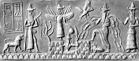 Sumerian tablet depicting Enki in the creation myth.