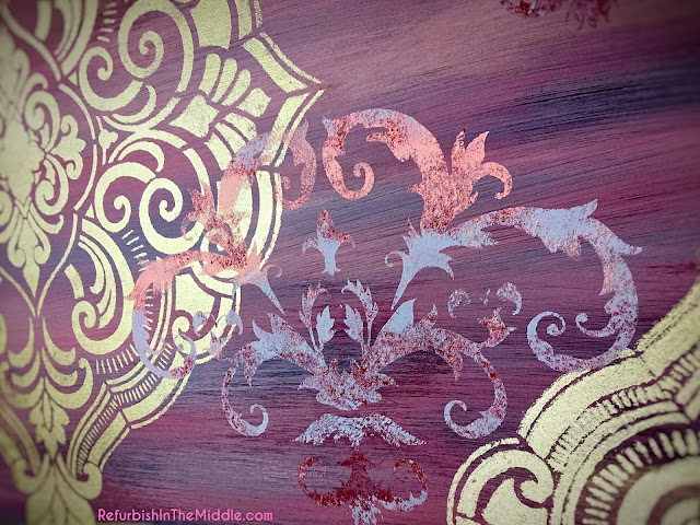 two different stenciled shown, using chalk paint and DIY's golden ticket paint