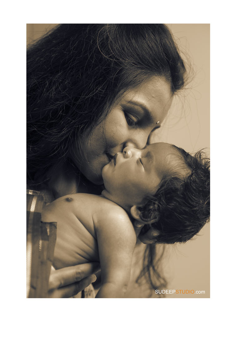 Indian New Born Baby Maternity Pictures in Farmington Hills Sepia Black White by SudeepStudio.com Ann Arbor Newborn Portrait Photographer