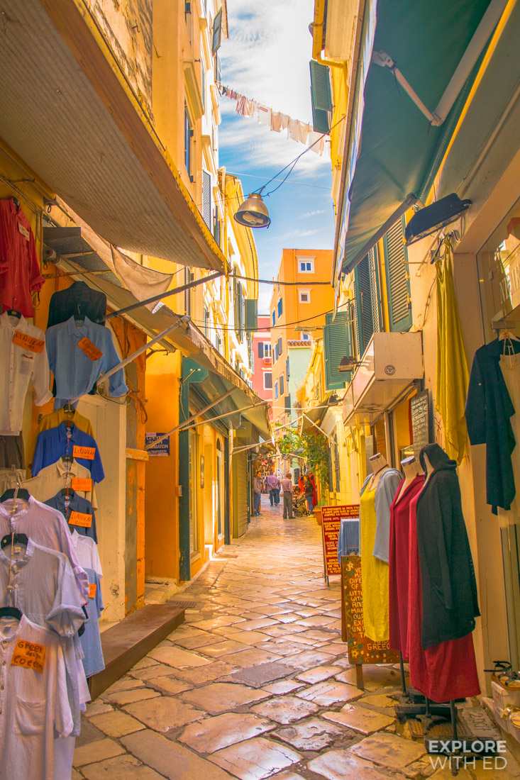 Pretty market streets in Corfu Town