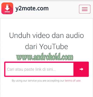 Disini saya memberikan aplikasi untuk mendownload video dari youtube dengan aplikasi y2mate/yt2mate