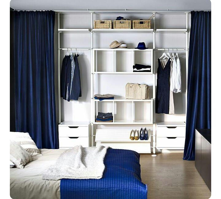Armário sem porta com cortina