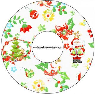 Etiquetas de Santa en Fondo Verde para CD's.