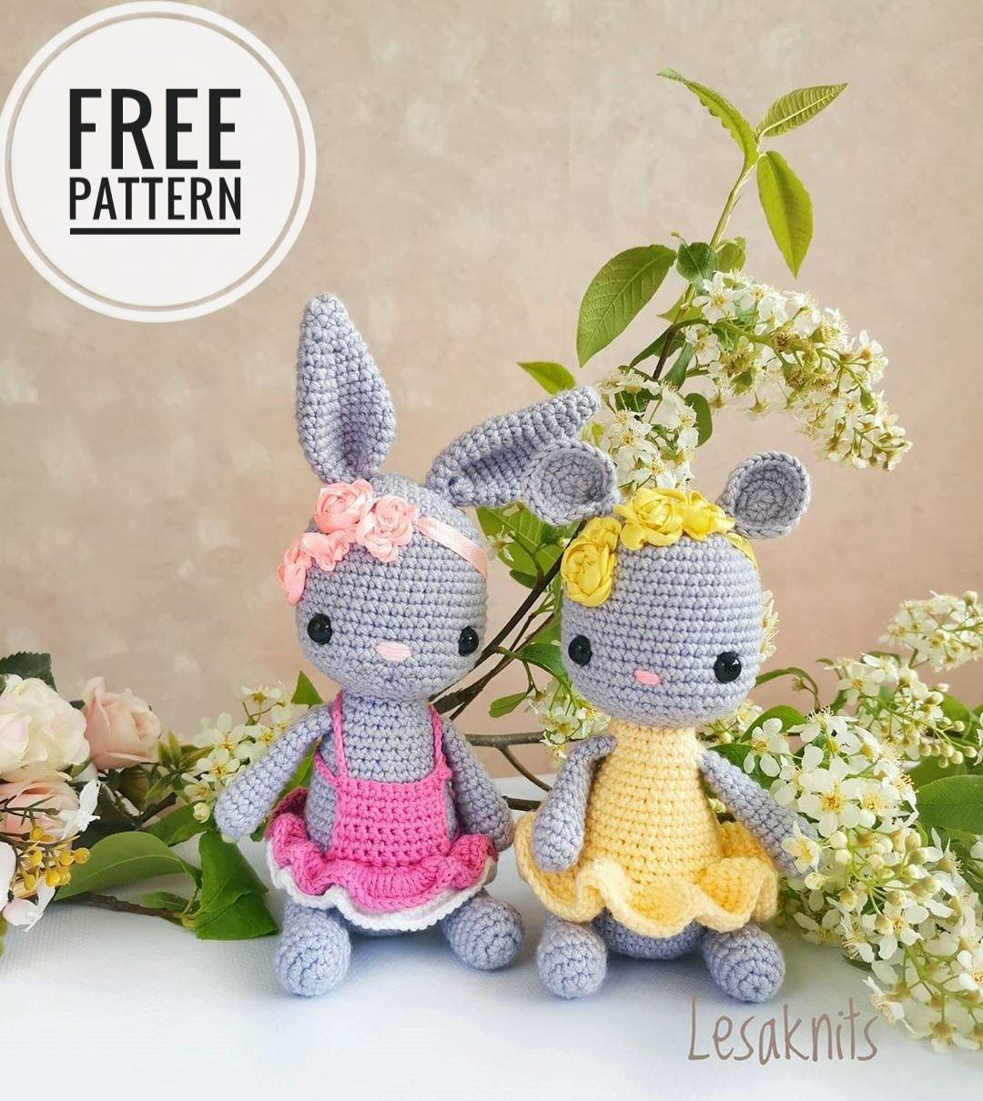Crochet bunny and mouse amigurumi pattern