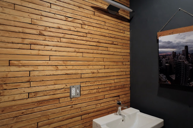 stain wood lath wall easy cheap