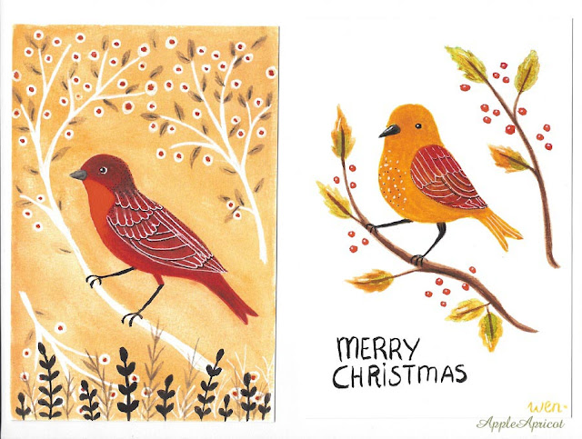 bird illustrations by AppleApricot Wen