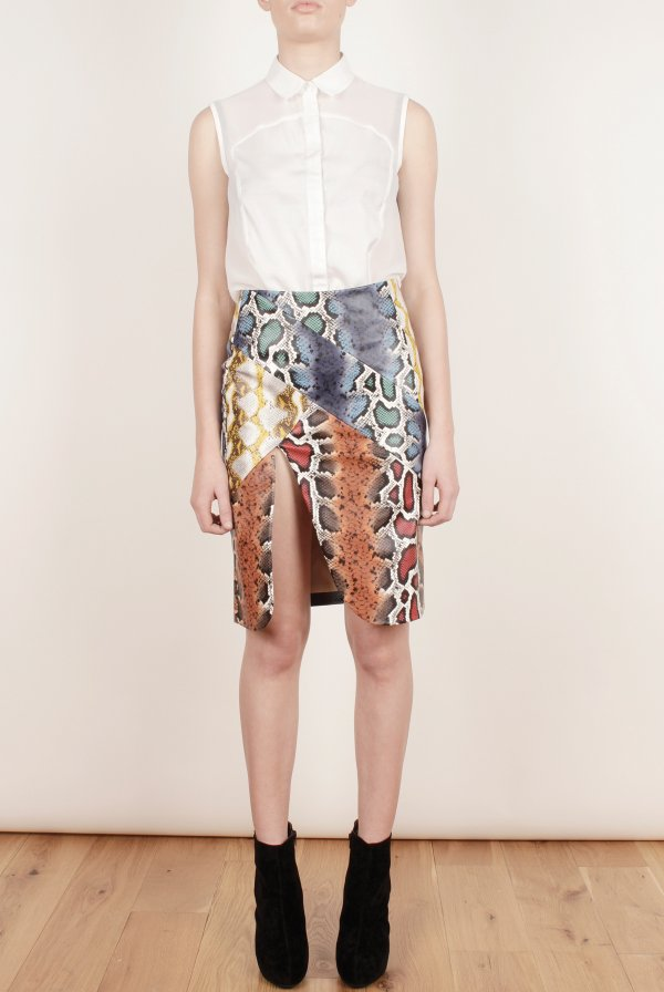 Bright, Faux Leather, Front Split, Lavish Alice, Made In Chelsea, MIC, Millie Mackintosh, Multicoloured, Panels, Pencil Skirt, Print, Seam Detail, Skirt, Snakeskin Print