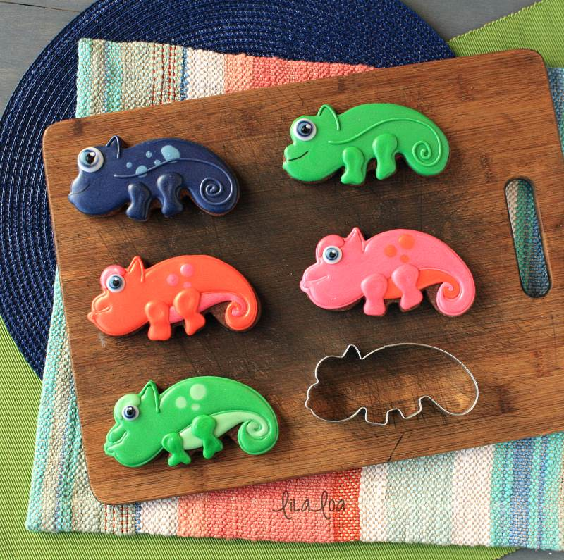 Brightly colored jungle and lizard chocolate sugar cookies