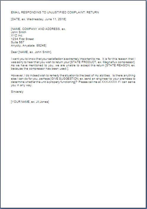 Customer Complaint Rejection Letter