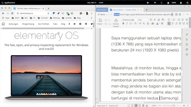 Side by Side Elementary OS Feature