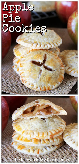 Apple Pie Cookies ~ Loaded with homemade apple pie filling, these fun little cookies are a perfect fall treat! Make a batch for tailgating, game day nibbling, after school snacking, or toss them in as a tasty lunchbox treat. #cookies #applecookies #applepie  www.thekitchenismyplayground.com