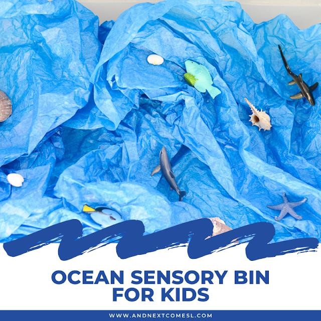 Ocean themed sensory bin for toddlers and preschoolers
