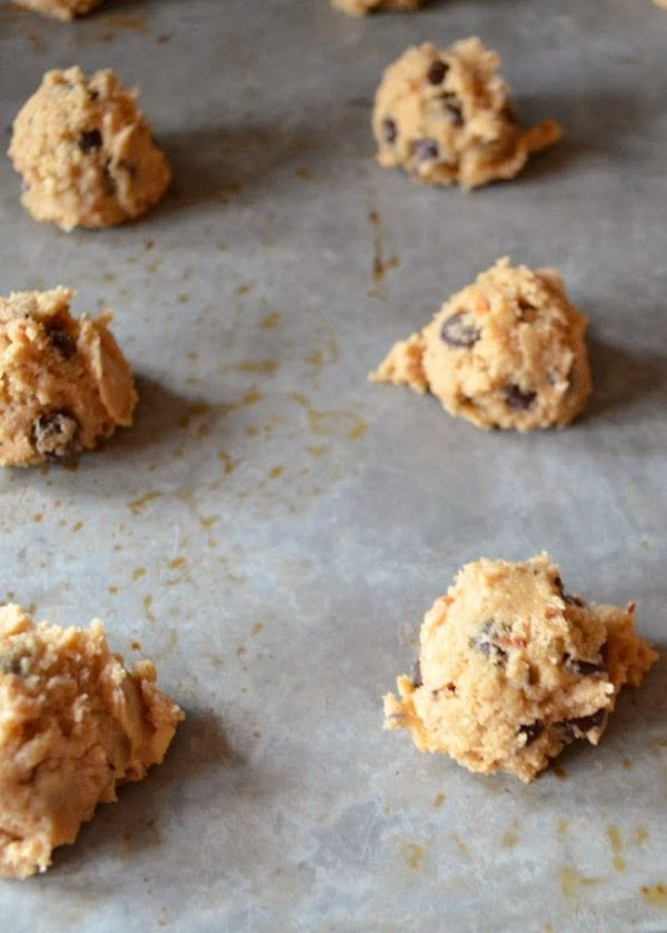 Chocolate Chip Cookie Dough dropped onto baking sheet.